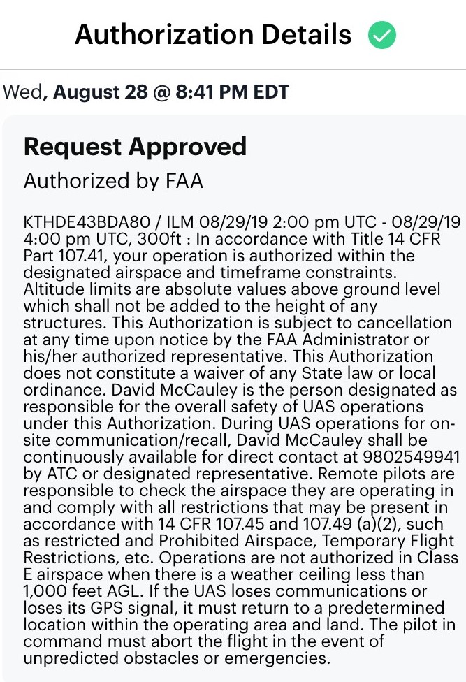 FAA Authorization Request Approved