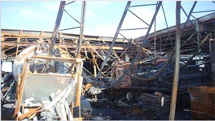 Fire damage to steel