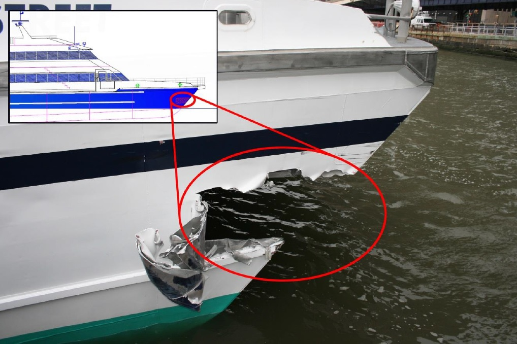 Fig 2 – Damage to Seastreak Wallstreet, Source: NTSB Accident report