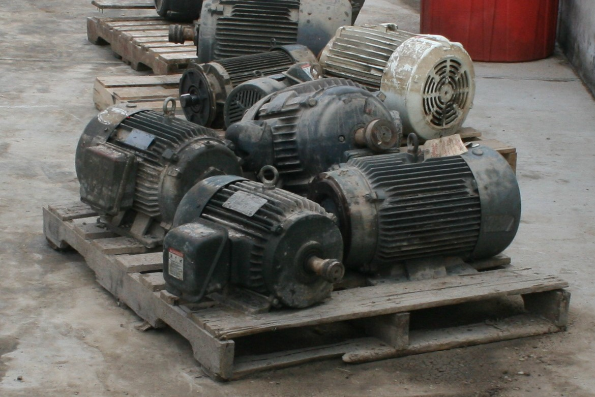 Pallet of motors flooded during a hurricane