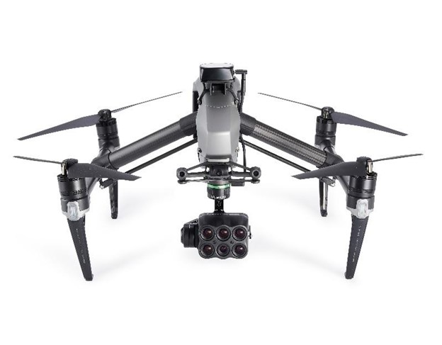 DJI Inspire 2 drone equipped with a Sentera 6X Multispectral Sensor