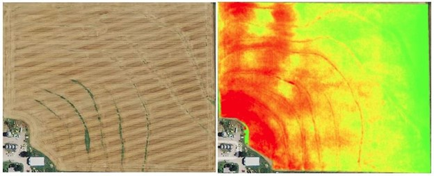 Field map without NDVI imaging on the left - Field map with NDVI imaging on the right identifying areas of crop stress in red and healthy vegetation in green.